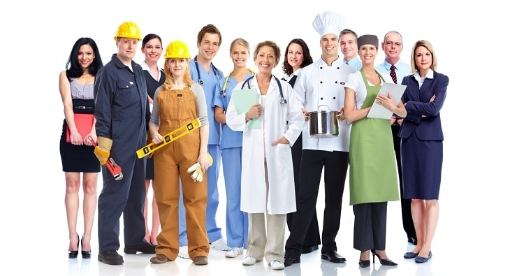 People in different work uniforms